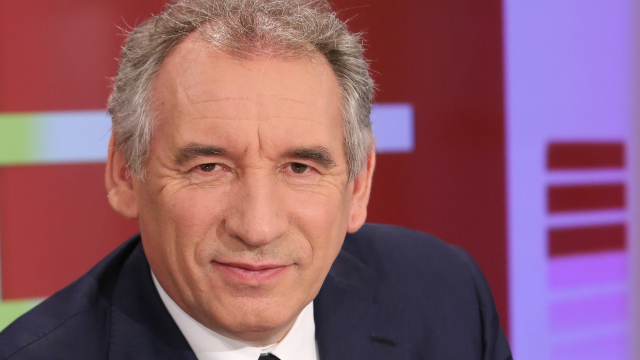 Close up of face of MoDem leader François Bayrou