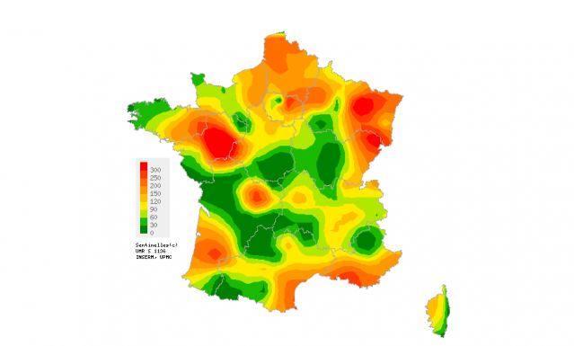 A health map of France, focusing on levels of gastroenteritis