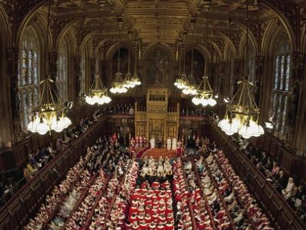 panoramic view of House of Lords with peers in formal robes