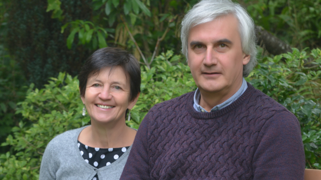 Connexion writer Jane Hanks pictured with husband Simon in a garden