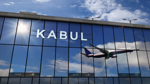 a plane takes off from kabul airport