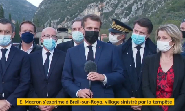President Macron and other politicians in Breil-sur-Roya after floods