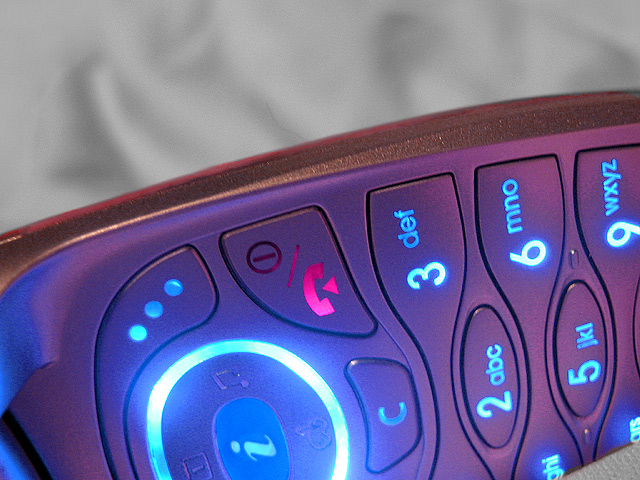 Close-up of an illuminated numberpad on a mobile phone