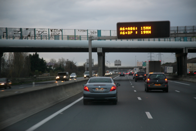 Vehicles travelling along a motorway in France
