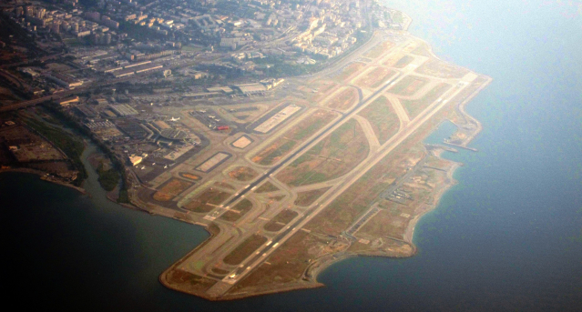 An aerial view of the runway and taxiway at Nice Cote d'Azur airport