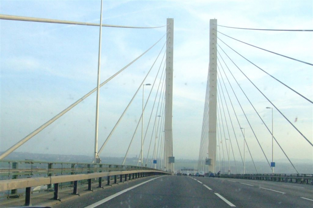 View from a vehicle travelling across the QE2 bridge