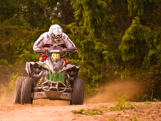 Racer on a quad taking part in a legal race