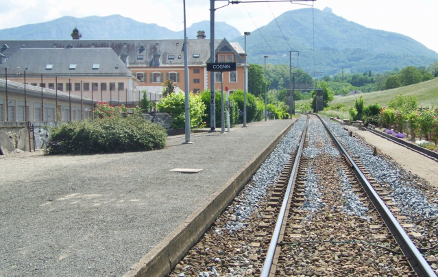 railway track at the commune of Cognin in Savoie