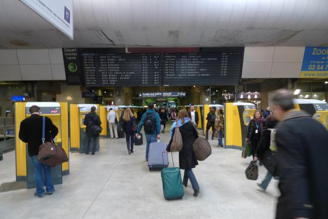 Passengers walking to the platforms at gare Montparnasse in Paris