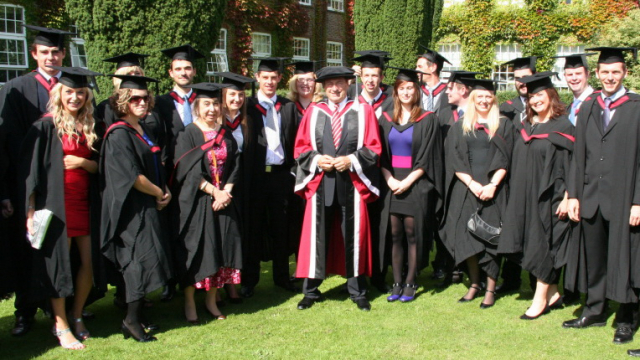 Students at a British university with caps and gowns
