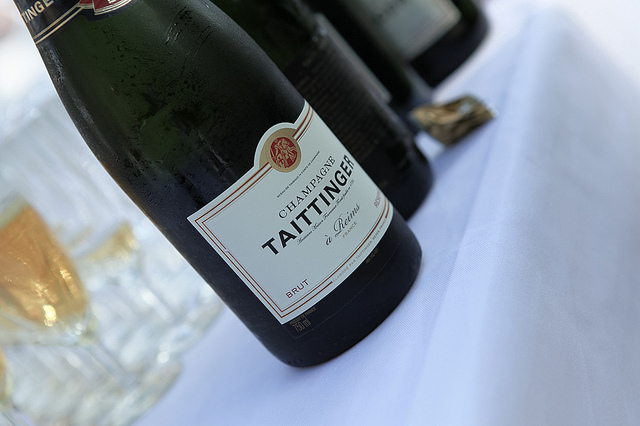 Bottles of Taittinger champagne