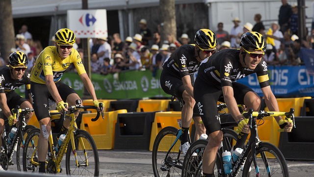 Team Sky's Chris Froome riding to victory on the final stage of the 2016 Tour de France