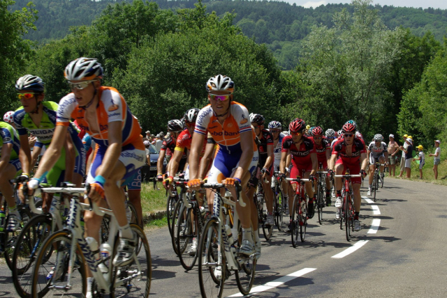 Tour de France riders in the Jura mountains