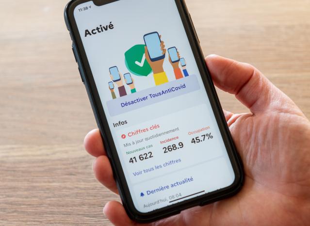 The TousAntiCovid app on a phone