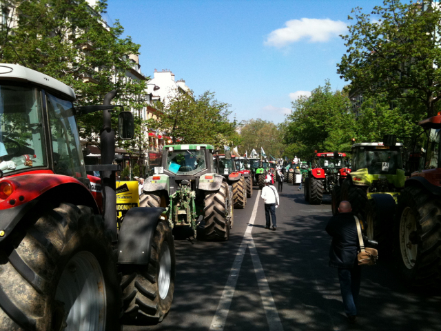 Tractors blockade a road in Paris