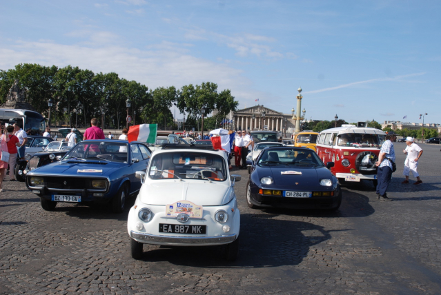vintage cars on the streets of Paris as part of the Traversee de Paris event