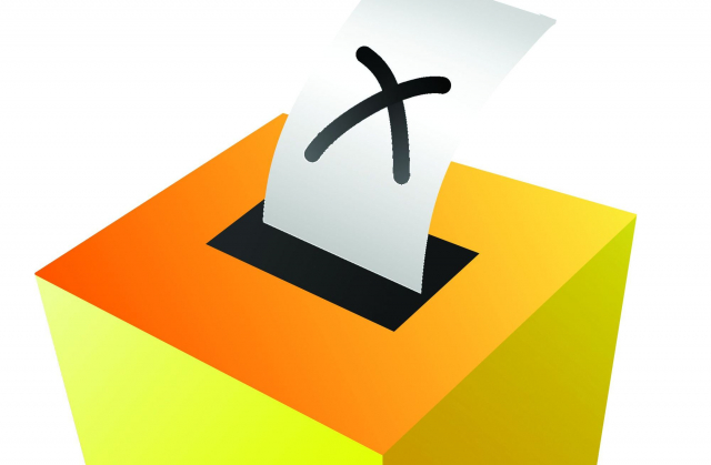 a crossed ballot going into a yellow ballot box