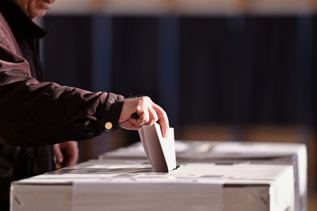 hand of person voting
