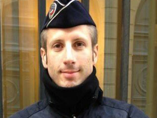 French policeman with cap and scarf round neck