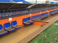 Flooded dugouts at Montpellier football ground - Photo: MHSC tweet