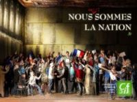 The poster parodies a famous painting