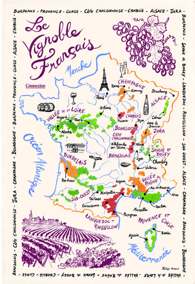 Map Of France With Key.Vineyards Of France Tea Towel