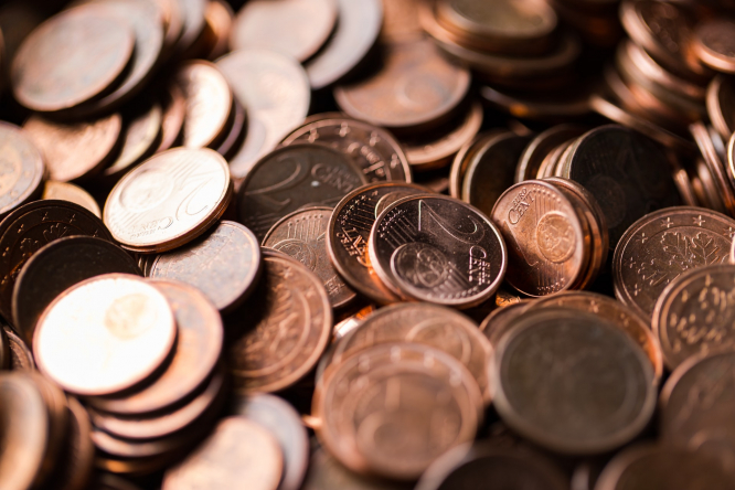 Bronze 1 and 2 centime Euro coins. One and two centime coins could soon disappear in France