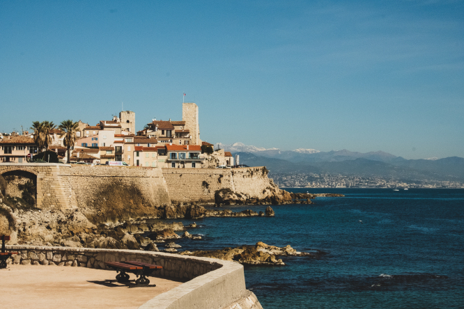 Panoramic view at the French Riviera coast from Antibes, France.
