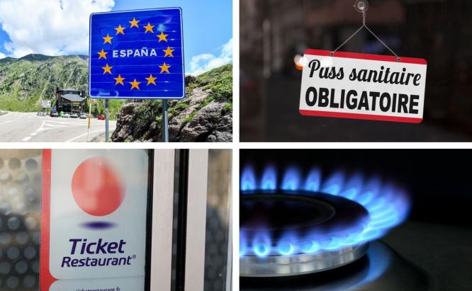 Spanish border, health pass in window, ticket restaurant, gas ring