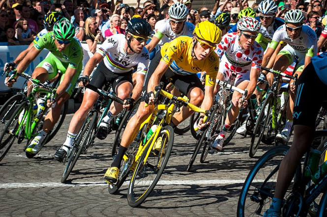 Riders in the Tour de France. Tour de France 2020 seeks volunteers for Nice Grand Départ