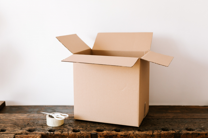 A cardboard box, tape and scissors. France lockdown: Can I prepare the house I'm moving into?