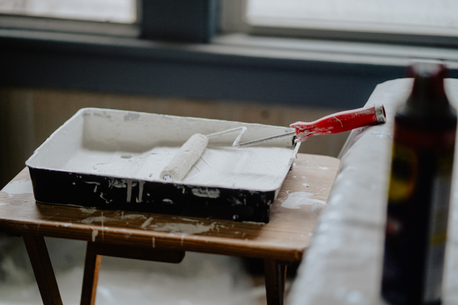 A paint tray and a roller. Renovating a home in France? Save receipts to avoid undervaluation
