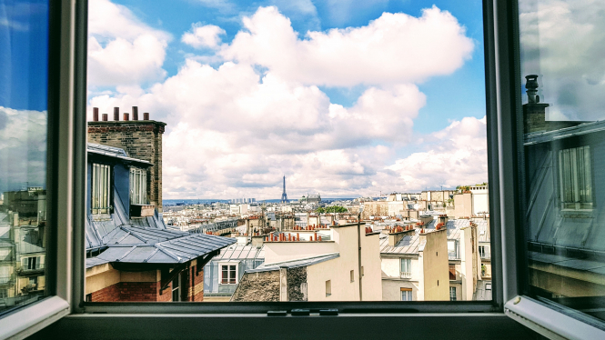 View from a window in Paris - the iconic skyline. Article: why a second national lockdown in France can't be ruled out. Photo from Connexion Oct print edition.