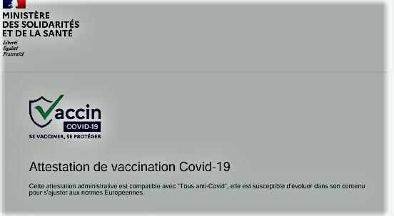 A Covid-19 vaccination certificate in France