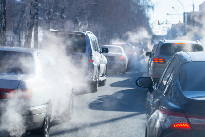 Pollution from car exhaust. French government fined record €10m for inaction on air pollution