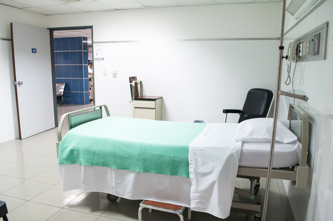 An empty hospital bed. an increase in Covid-19 cases has put Toulouse hospitals 'under strain'