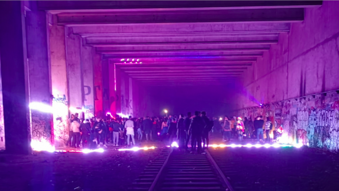 Party goers at an illegal rave in Paris 13eme. Police break up secret party network in Paris