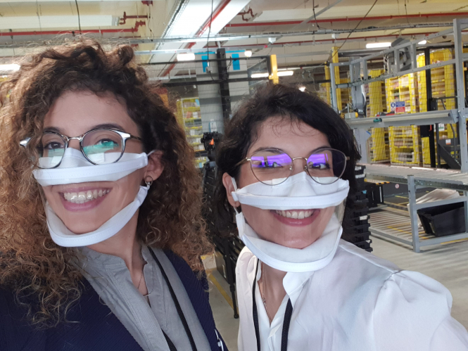 French sisters Anissa and Souad Mekrabech wearing the Masque Inclusif they designed. 300,000 inclusive, clear masks to be distributed in France