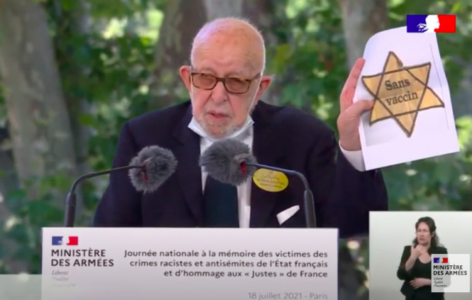 Joseph Szwarc speaking at the national Memorial Day for victims of racist and antisemitic crimes. Jewish WW2 survivor's anger at yellow anti-vax stars at French protest
