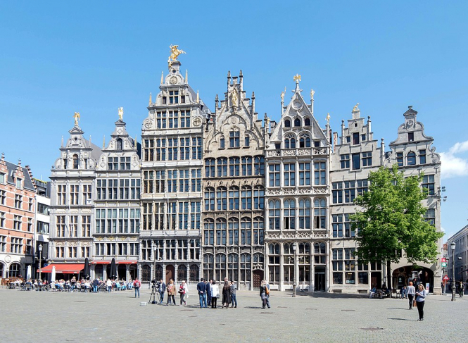 16th-century Guildhouses at the Grote Markt in Antwerp. Belgium bans 'non-essential' travel from parts of France