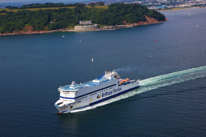 Brittany Ferries ship Armorique departs the UK. Brittany Ferries cuts routes as UK-France quarantine hits