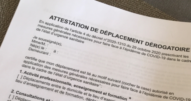 An attestation form. New semi-confinement in France: What you can and cannot do