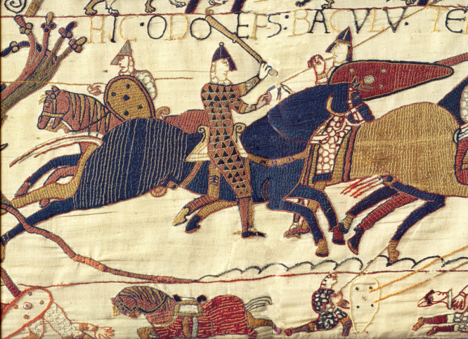 A section of the Bayeux tapestry. Bayeux tapestry repair plans prompt France-UK tension