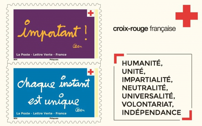 A preview of some of the colourful stamps. French artist creates 10 new stamp designs for Croix-Rouge