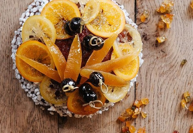 """A brioche """"galette"""" des rois by Benoit Castel, with candied fruit on top. Photos: The best galettes des rois as France marks Epiphany"""