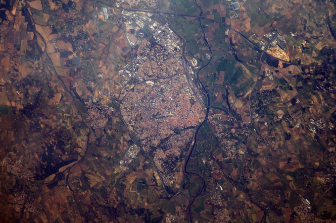 Béziers and Canal du Midi from space in photo take from the International Space Station the ISS