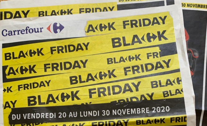 Black Friday promo at supermarket Carrefour. Black Friday in France: Row erupts over possible sales delay
