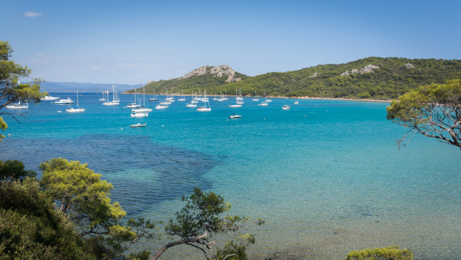 A bay in on the beautiful island of Porquerolles. The French beauty spot is a victim of over-tourism and hopes to reduce visitor numbers.