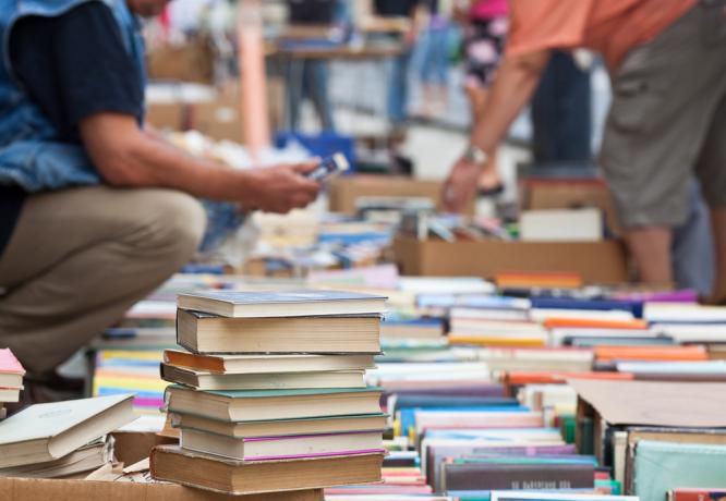 A person browsing at a book fair