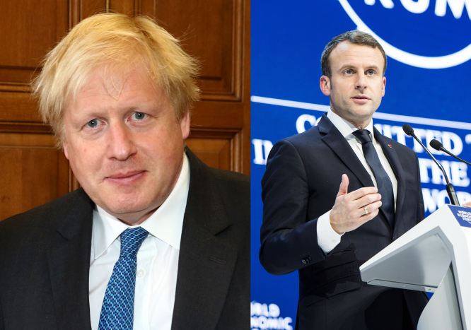 UK Prime Minister Boris Johnson (Left) and French President Emmanuel Macron. Both leaders have adopted different strategies on the coronavirus pandemic.
